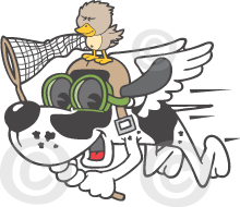 Funny Bird Dog Character